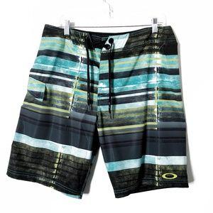 Oakley Color Block Striped Board Shorts Sz 34 NWOT